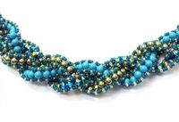 Crystal & Pearl, Multi-strand, Cross-weave Bracelet Kit with SWAROVSKI® ELEMENTS Turquoise/Green/Blue Zircon